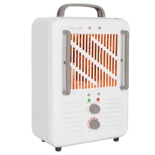 RIGHT ANGLE VIEW OF HEATER WITH HEATING ELEMENTS GLOWING