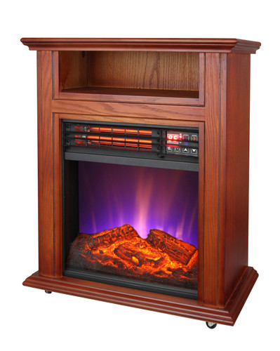 LEFT ANGLE VIEW OF FRENCH WALNUT ELECTRIC FIREPLACE