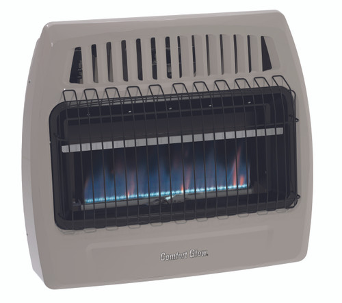 FRONT VIEW OF BLUE FLAME HEATER ON