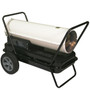 RIGHT ANGLE VIEW OF WHITE KEROSENE FORCED AIR HEATER WITH HANDLE KIT AND FLAT FREE ALL SEASON TIRES