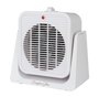 front view of white fan/heater with tilting option