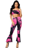 Black and Fuchsia Tie Dye Top and Flared Leggings Set