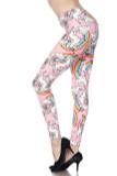 Buttery Soft Pink Rainbow Unicorn Plus Size Leggings - 3X - 5X