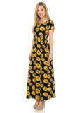 Buttery Soft Short Sleeve Summer Daisy Maxi Dress