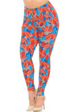 Buttery Soft Red and Blue Cactus Plus Size Leggings