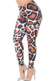 Left side view of our sassy Creamy Soft Giraffe Print Extra Plus Size Leggings - 3X-5X - USA Fashion™ with an all over spotted brown and black on white animal print.