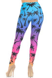 Back view of Creamy Soft Ombre Palm Tree Extra Small Leggings -  USA Fashion™ with an eye-grabbing cute and colorful design that pairs well with simple basic tees.