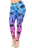 Angled front view of Creamy Soft Ombre Palm Tree Plus Size Leggings -  USA Fashion™ with a blue to purple to pink sunset inspired faded background decorated with black palm tree silhouettes.