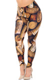 Angled front view of Creamy Soft Wine Cork Plus Size Leggings  - USA Fashion™ showcasing an all over photorealistic vino cork print, ideal for any aficionado.