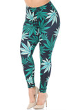 Angled front view of Creamy Soft Black Weed Plus Size Leggings  - USA Fashion™ with a green weed leaf design decorating a black background.