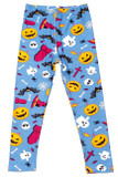 Flat front view image of Buttery Soft Steel Blue Halloween Motif Kids Leggings featuring a colorful and festive look with ghosts, pumpkins, bats. and witch hats against a blue background.
