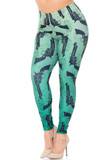 Angled front view Creamy Soft Ombre Green Guns Plus Size Leggings featuring a light to darker green ombre colored background with an all over black pistol print.