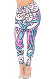 Front view of our super bold and eye-catching Creamy Soft Cute Mandala Extra Plus Size Leggings - 3X-5X - USA Fashion™ with a  decorative pastel design outlined in thick black lines that make it pop.