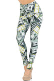 Left side right knee bent view of our Creamy Soft Cash Money Extra Small Leggings - USA Fashion™ with a vivid all over print that features stack of one hundred dollar bills.