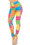 Partial front/left side view of Creamy Soft Lego Extra Small Leggings - USA Fashion™  featuring a colorful all over block design that brings a fun and youthful aesthetic to any outfit.