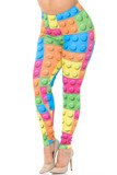 Angled front view of Creamy Soft Lego Plus Size Leggings - USA Fashion™ featuring a colorful all over block design that brings a fun and youthful aesthetic to any outfit.