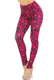 Partial front/left side view of our Creamy Soft Red Scale Leggings - USA Fashion™ with an all over scale design that will transform you into a different creature such as a mermaid or dragon, ideal for Hallowen and fun stand out looks.