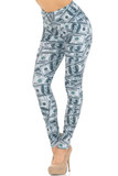 Angled front view image of our Creamy Soft Raining Money Extra Small Leggings - USA Fashion™ featuring a sassy and eye-catching collage style print of 100 dollar bills.