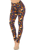 Angled front view image of Buttery Soft Everything Halloween Plus Size Leggings featuring a colorful and fun festive design consisting of pumpkins, bats, witch hats, cauldrons, potions, and more on a deep purple background.