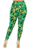 Rear view image of our sassy 420 friendly Buttery Soft Cannabis Marijuana Plus Size Leggings with a body-hugging fit.