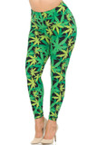 Angled front view image of our Buttery Soft Cannabis Marijuana Extra Plus Size Leggings with a mixed green colored weed leaf print with a high contrast black background peeking through.