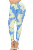 Angled front view image of our Buttery Soft Pastel Tie Dye Extra Plus Size Leggings featuring a gorgeous blue and pale yellow design, ideal for trendy Spring and Summer outfits.