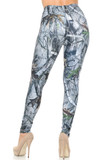 Rear view image of Creamy Soft Camouflage Trees Leggings -  USA Fashion™ showing a flattering body-hugging fit.