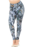 Angled front view image of our Creamy Soft Camouflage Trees Extra Plus Size Leggings - 3X-5X - USA Fashion™ featuring a super cool photorealistic nature inspired gray toned tree and branch design with sparsely placed brown and green leaves.