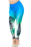 Angled front view image of our gorgeous Creamy Soft Blue Sunset Extra Plus Size Leggings - USA Fashion™ featuring a colorful blue and green ombre star-filled night sky design with tree silhouettes.