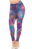 Angled Front view image of our vibrantly coloredCreamy Soft Mandala Flowers Plus Size Leggings - USA Fashion™ with an all over intricate blue, pink, and mustard on purple design featuring mandalas and abstract decorative accents.