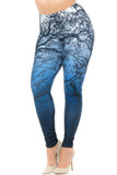 Angled Front view image of Creamy Soft Ombre Forest Extra Plus Size Leggings - 3X-5X - USA Fashion™ with an all over twiggy branch design and a background that transitions from white on top to blue on the bottom.