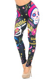 Angled front view image of our eye-catching Creamy Soft Day of the Dead Leggings - USA Fashion™ with a large sugar skull design that features maracas, florals, stars, guitars, and birds.