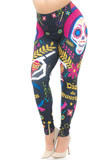 Angled front view image of our eye-catching Creamy Soft Day of the Dead Plus Size Leggings - USA Fashion™ with a large sugar skull design that features maracas, florals, stars, guitars, and birds.