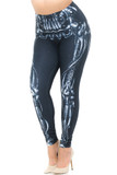 Angled front view image of our Creamy Soft Black Bio Mechanical Skeleton Plus Size Leggings (Steam Punk) - USA Fashion™ featuring a cool black and white steampunk style skeleton leg design, ideal for Halloween or edgy fashion any time of year.