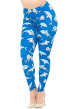 Angled front view image of Creamy Soft Shark Extra Plus Size Leggings - 3X-5X - USA Fashion™ with an all over mixed shark print on a bright blue background.