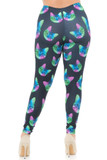Rear view image of Creamy Soft Neon Cats Plus Size Leggings - USA Fashion™ with a figure flattering body hugging fit and a sassy stand out design.