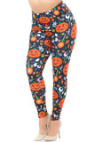 Angled front view image of our festive fun-filled Creamy Soft Pumpkins and Halloween Candy Plus Size Leggings - USA Fashion™ with an all over print including Jack-o-Lanterns, ghosts, treats, and eyeballs on a black fabric base.
