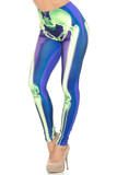 Angled front view image of Creamy Soft Chernobyl Skeleton Bones Leggings - USA Fashion™ featuring a cool green on blue anatomical skeleton lower body half design.