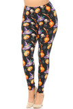 Angled Front view image of Buttery Soft Pumpkins Witch's Watercolor Halloween Plus Size Leggings featuring a festive print that features carved pumpkins, witch hats, skull and crossbones, and broomsticks on a black background.