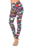 Angled front view image of Buttery Soft Vintage Umbrella Extra  Plus Size Leggings featuring a colorful umbrella design on a charcoal background.