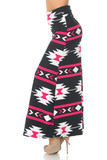 Left side view image of Buttery Soft Magenta Aztec Tribal Maxi Skirt with a bold large scale white and pink geometric design on a black fabric base.