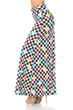Left side view image of our Buttery Soft Color Accent Checkered Maxi Skirt with a black and white checkerboard print featuring pops of yellow, teal, pink, and red.