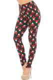Left side right bent knee view of our heartwarming Buttery Soft Mocha Cappuccino Christmas Coffee Leggings featuring red mugs decorated with Christmas trees, and topped with whipped cream against a black background.