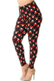 Left side right bent knee view of our heartwarming Buttery Soft Mocha Cappuccino Christmas Coffee Extra Plus Size Leggings featuring red mugs decorated with Christmas trees, and topped with whipped cream against a black background.