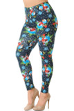 Partial front/left side view image of our Buttery Soft Frosty Blue Snowman Christmas Extra Plus Size Leggings with a print of snowmen, snowflakes, and falling snow against a deep blue background.