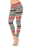 Partial front/left side image view of Winter Escapade Fur Lined Leggings featuring a wrap around knit holiday sweater inspired print featuring colorful blue and orange tones mixed with neutrals.