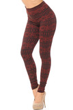 Left side bent knee image view of Red Winter Snowflake Fleece Lined Leggings with a festive  black wrap around design.