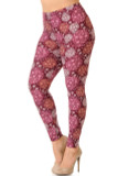 Left side view of our gorgeous burgundy toned Buttery Soft Festive Snowflake Ornaments Plus Size Leggings with a beautiful intricate all over snowflake print.