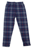 Flat front view image of Buttery Soft Navy Blue Plaid Kids Leggings featuring a navy color base with white and red accents.