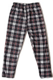Flat front view image of our classic looking Buttery Soft Burgundy Stripes Plaid Kids Leggings featuring a black and white design with deep red accents.